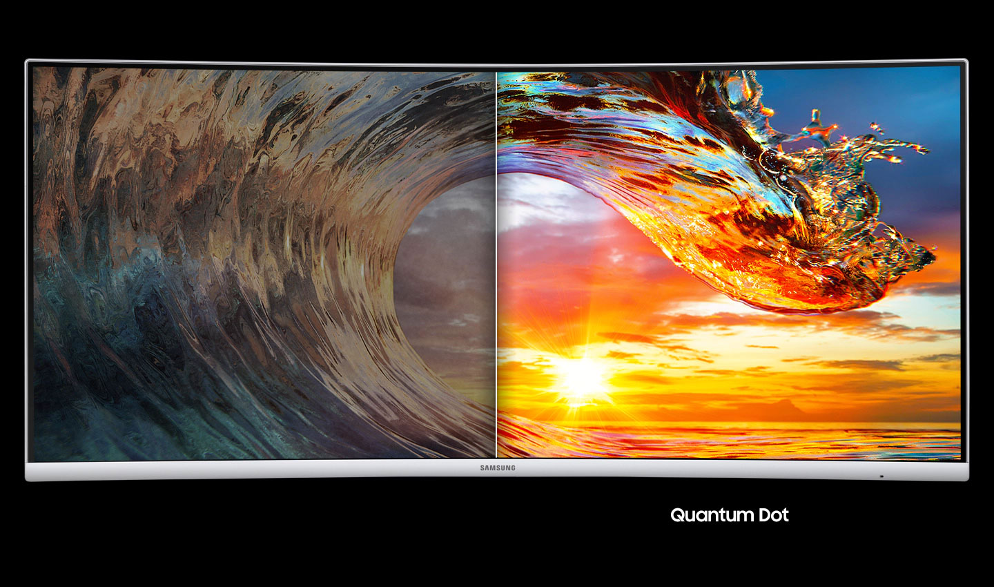 a monitor with two images,showing different effect between Quantum dot off and on