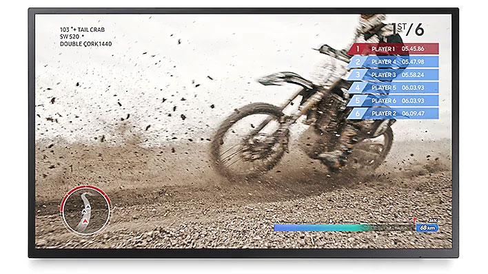 a moto racing match as screenshot of the monitor