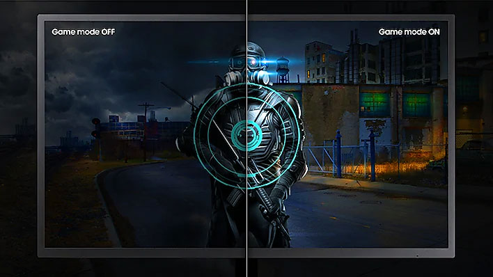 a monitor screenshot splited into two ,showing different effect between game mode off and on