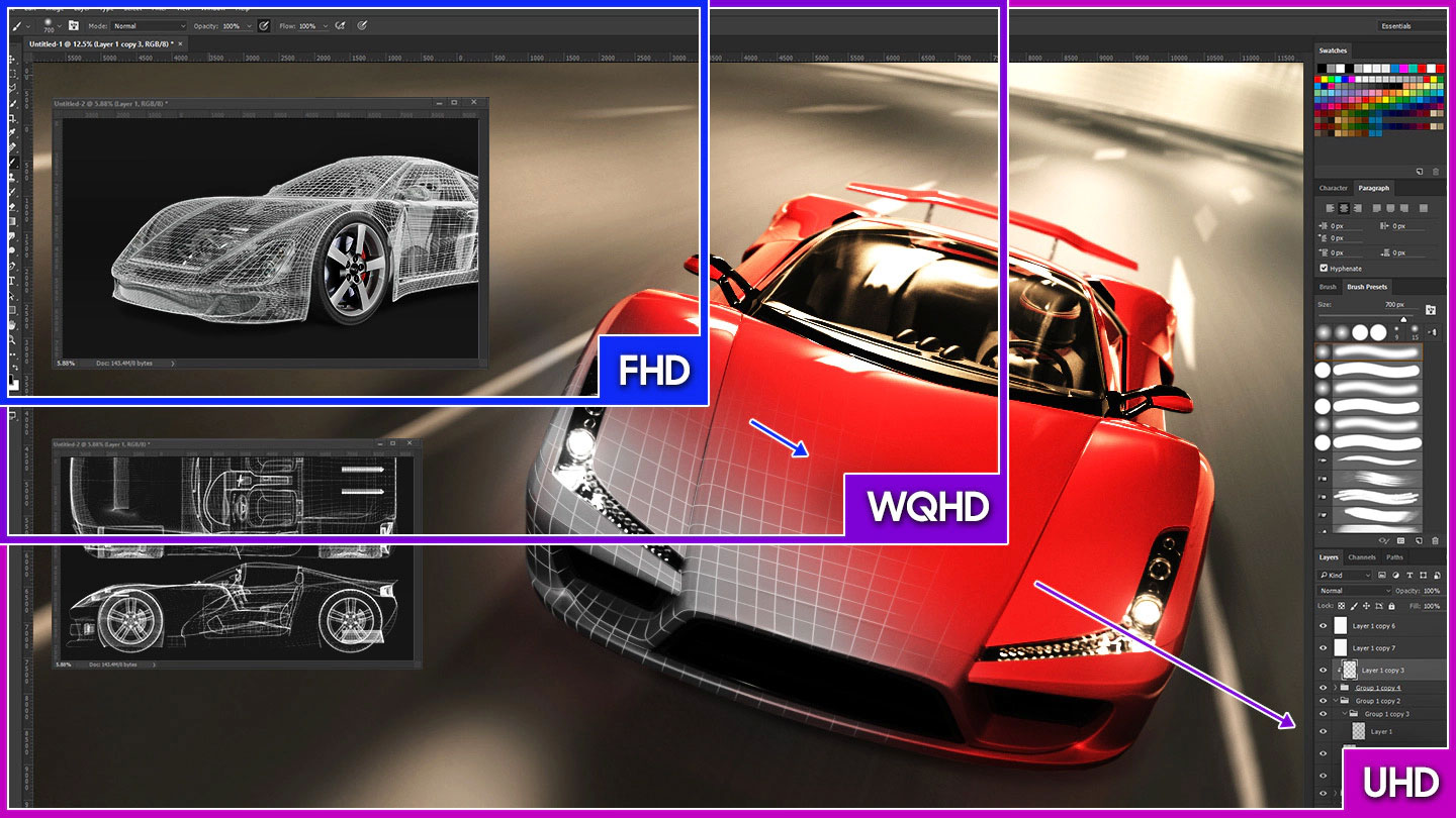 a monitor screenshot splited into two ,showing different effect between FHD WQHD and UHD