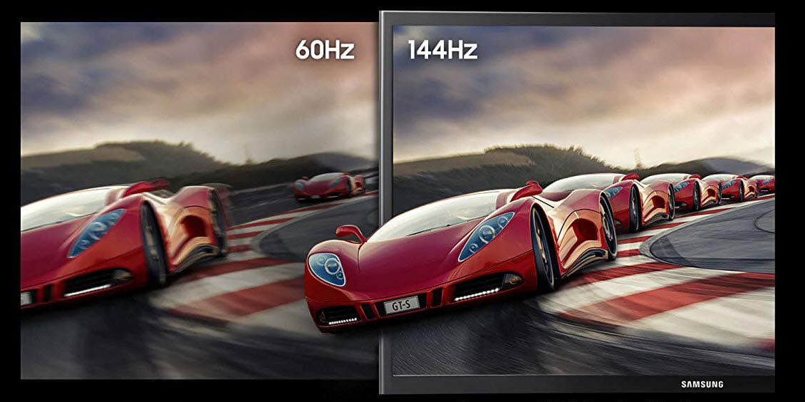 a sports car picture comparing 60Hz and 144Hz refresh rate