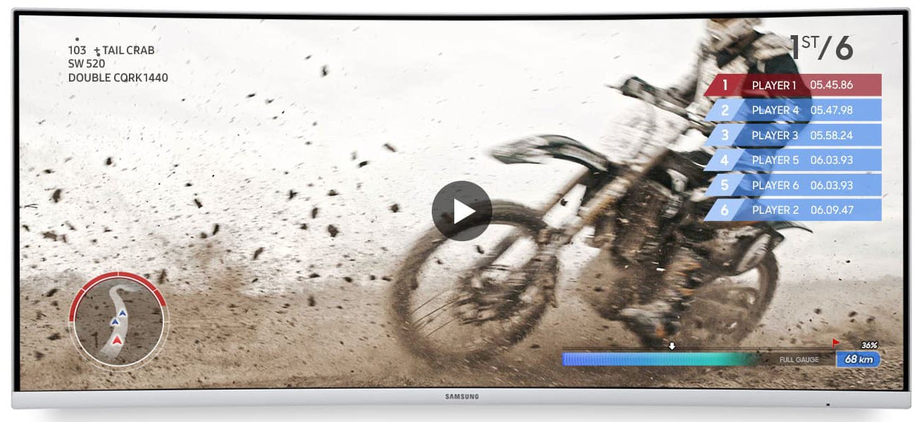 a Samsung monitor showing a racing motor running in dirt