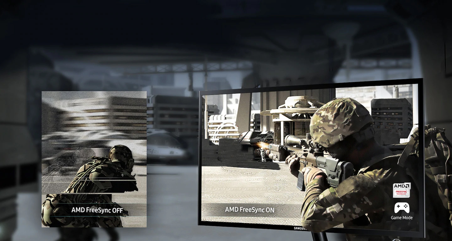 the monitor with a shooting game screenshot and the other image on the left showing the different effect between AMD FreeSync off and on