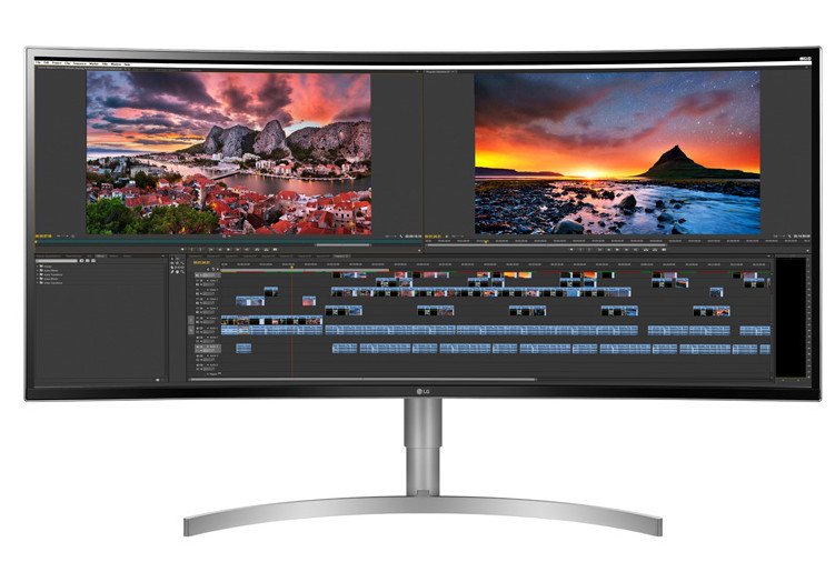 LG 38WK95C-W monitor facing forward showing video editing software