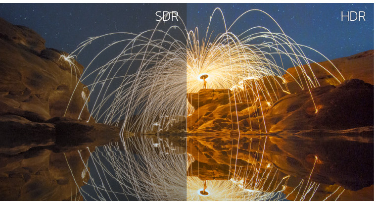 LG 38WK95C-W display showing fireworks in a river canyon with a split comparison of SDR with HDR