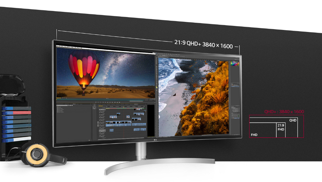 LG 38WK95C-W display facing slightly to the right with video-editing software open. There is also a pair of headphones, organized physical media and graphics that indicate: 21:9 QHD+ 3840x1600