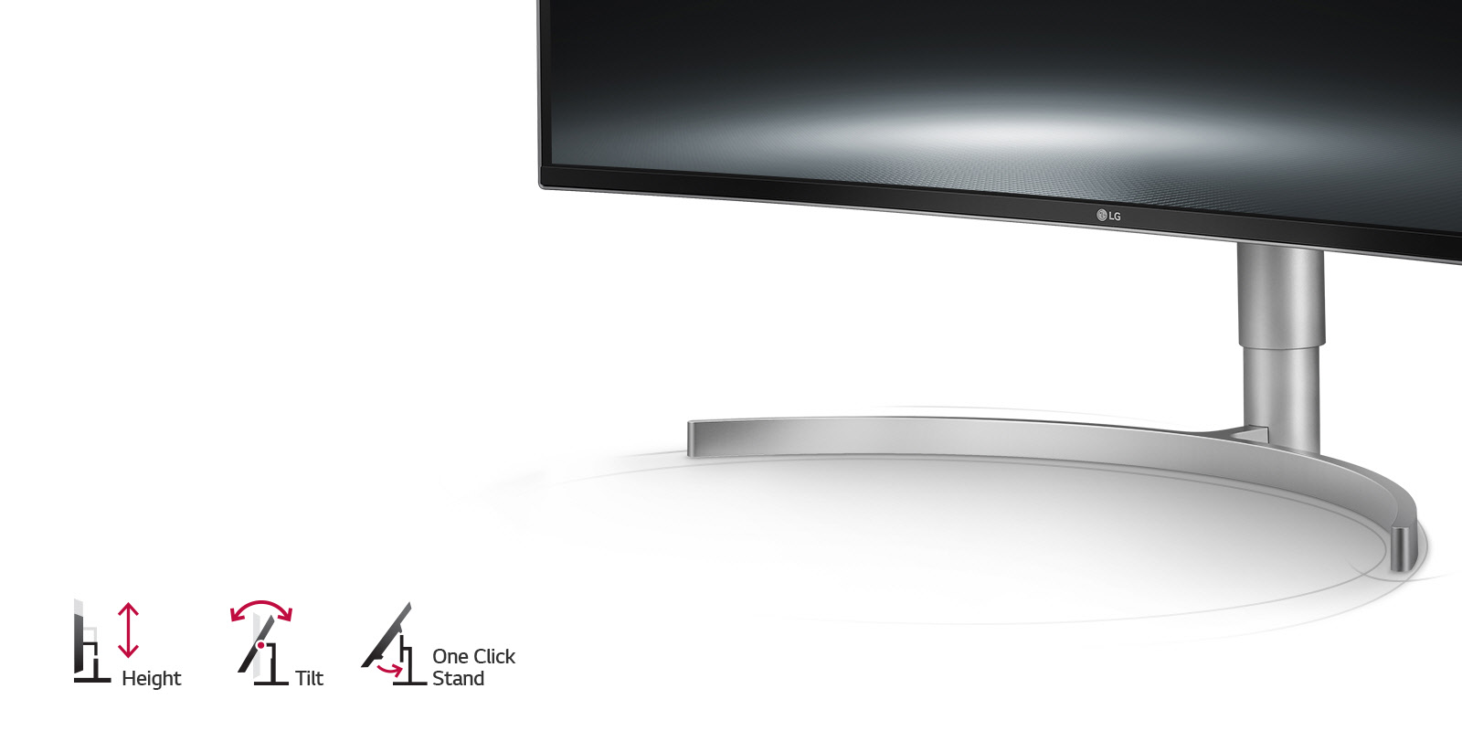 LG 38WK95C-W monitor stand closeup to the right of icons and text showing height, tilt and one-click stand adjustments