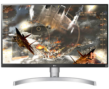 LG 27UK650-W Monitor Facing Forward with Jets and War Game Art on Screen