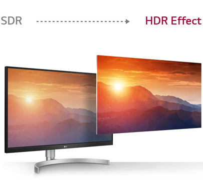 LG Monitor Showing the Difference Between SDR and the Higher Quality HDR Effect wtih a Sun Setting on a Mountain Range