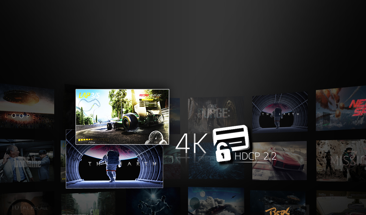 4K HDCP 2.2 Logos with Different Movie and Game Cover Arts