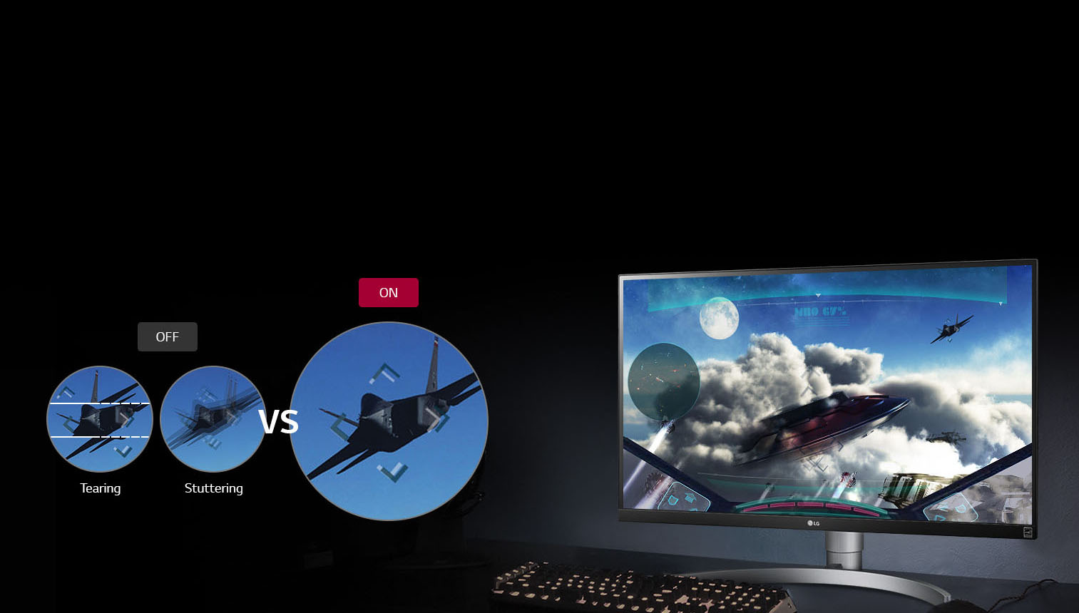 LG Monitor Showing a Jet Flying Simulator and a Comparison of Tearing/Stuttering Eliminated by FreeSync
