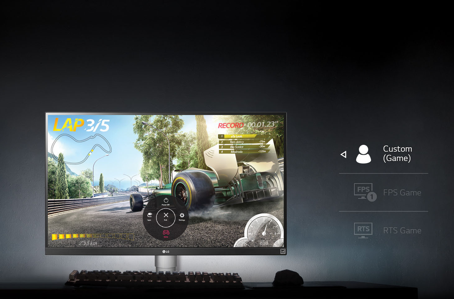 LG Monitor Showing a Racing Game on Screen
