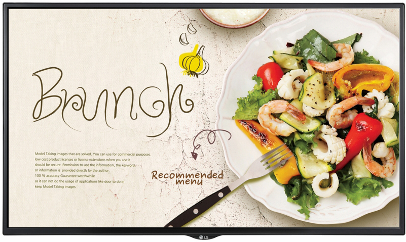 Brunch restaurant ad on an LG commercial display