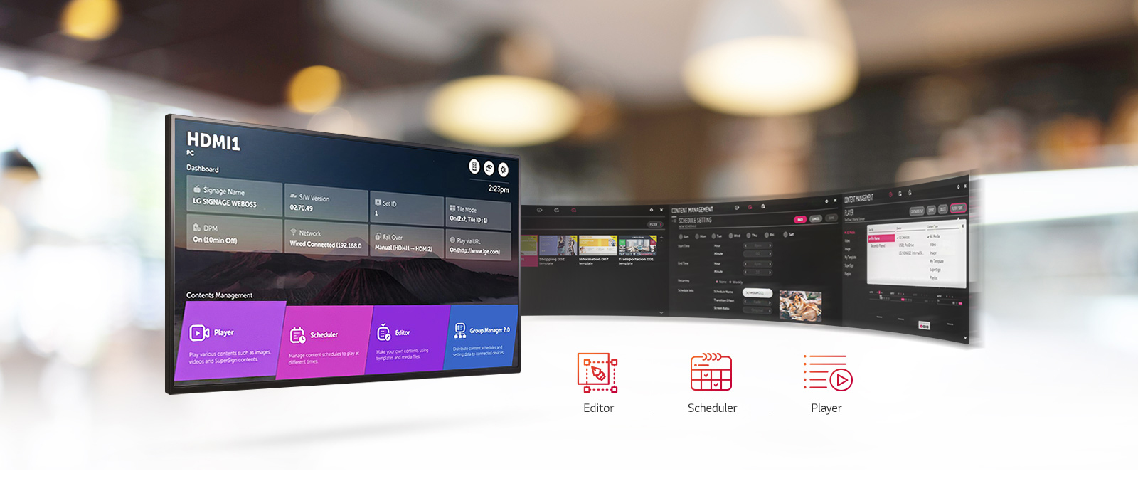LG commercial displays showing editor, scheduler and player features