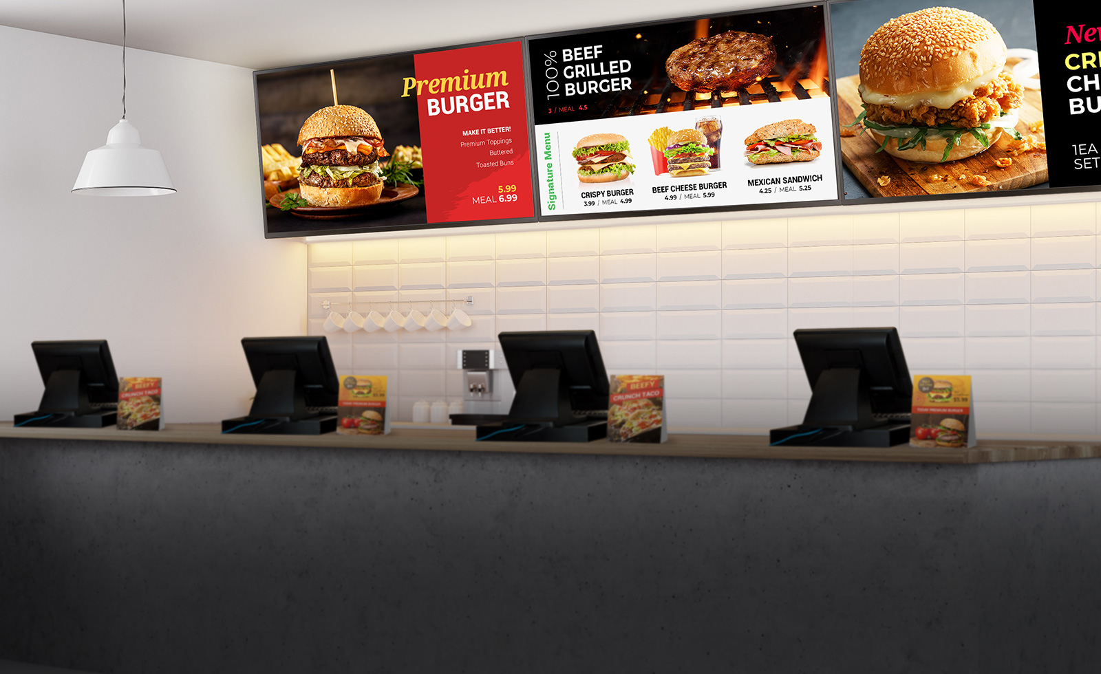 LG commercial displays at a fast-food burger restaurant behind the point of sale kiosks