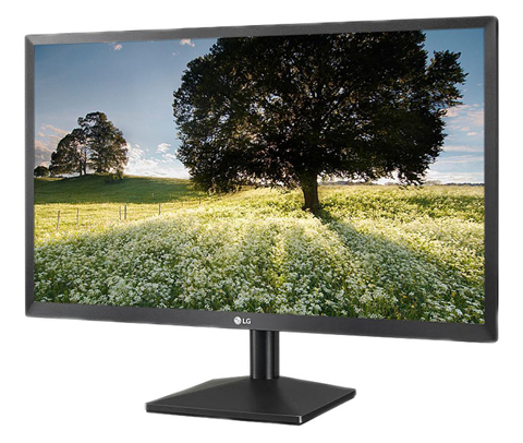 LG 24BK400H-B Monitor is tilted slightly to the left.