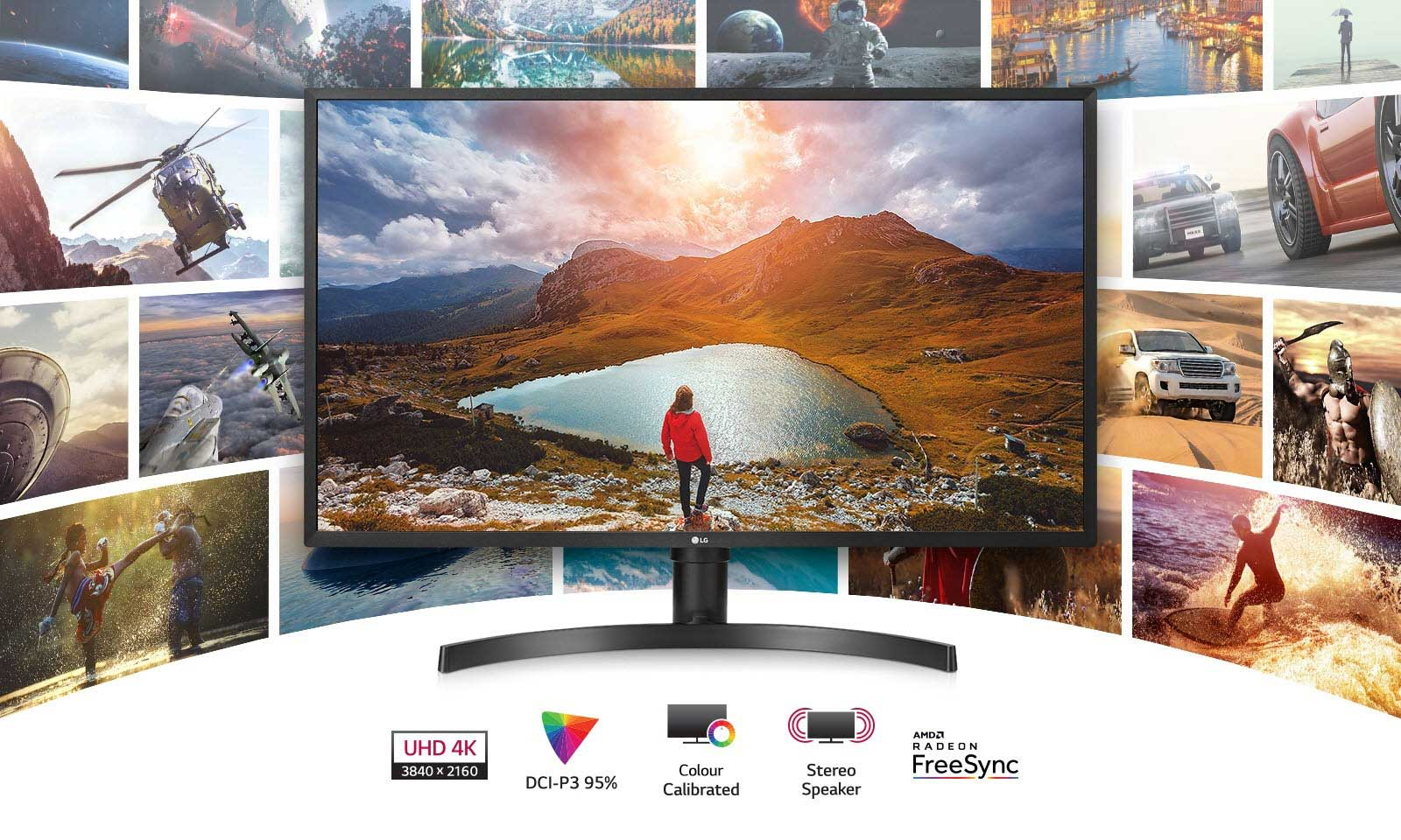 LG 32UK550-B monitor facing forward with a person in front of lake on a mountain top. There are also logos for UHD 4K, DCI-P3 95%, Color Calibrated, Stereo Speaker and RADEON FreeSync and shots of video games behind the monitor