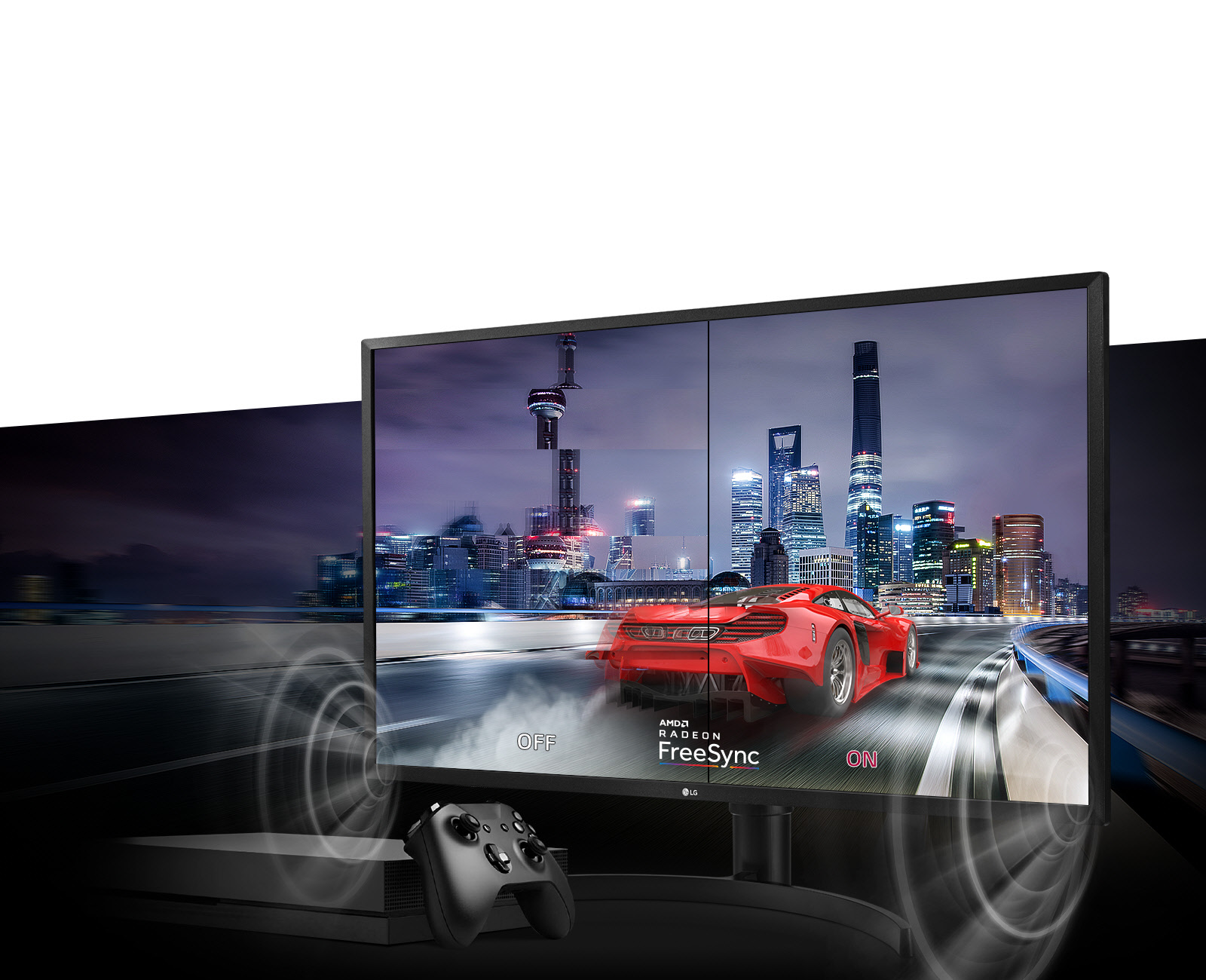LG 32UK550-B monitor facing forward, slightly to the left, showing a sports car racing through a highway next to a city skyline at night. An Xbox One and controller are in front of the monitor