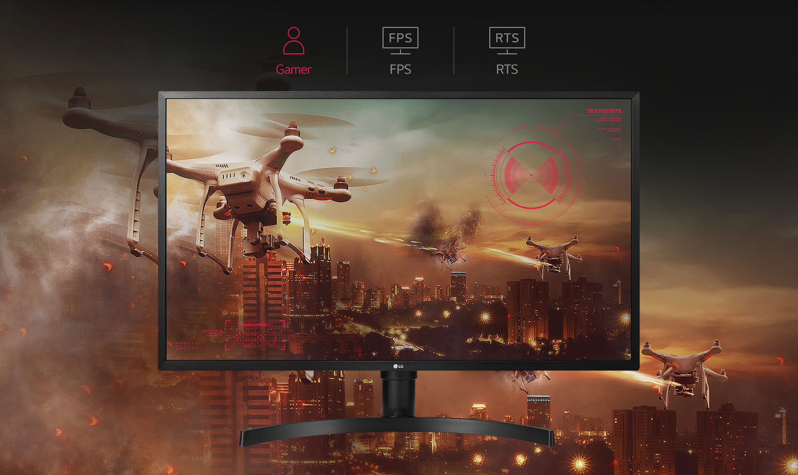 LG 32UK550-B monitor facing forward with drones over a desert city skyline