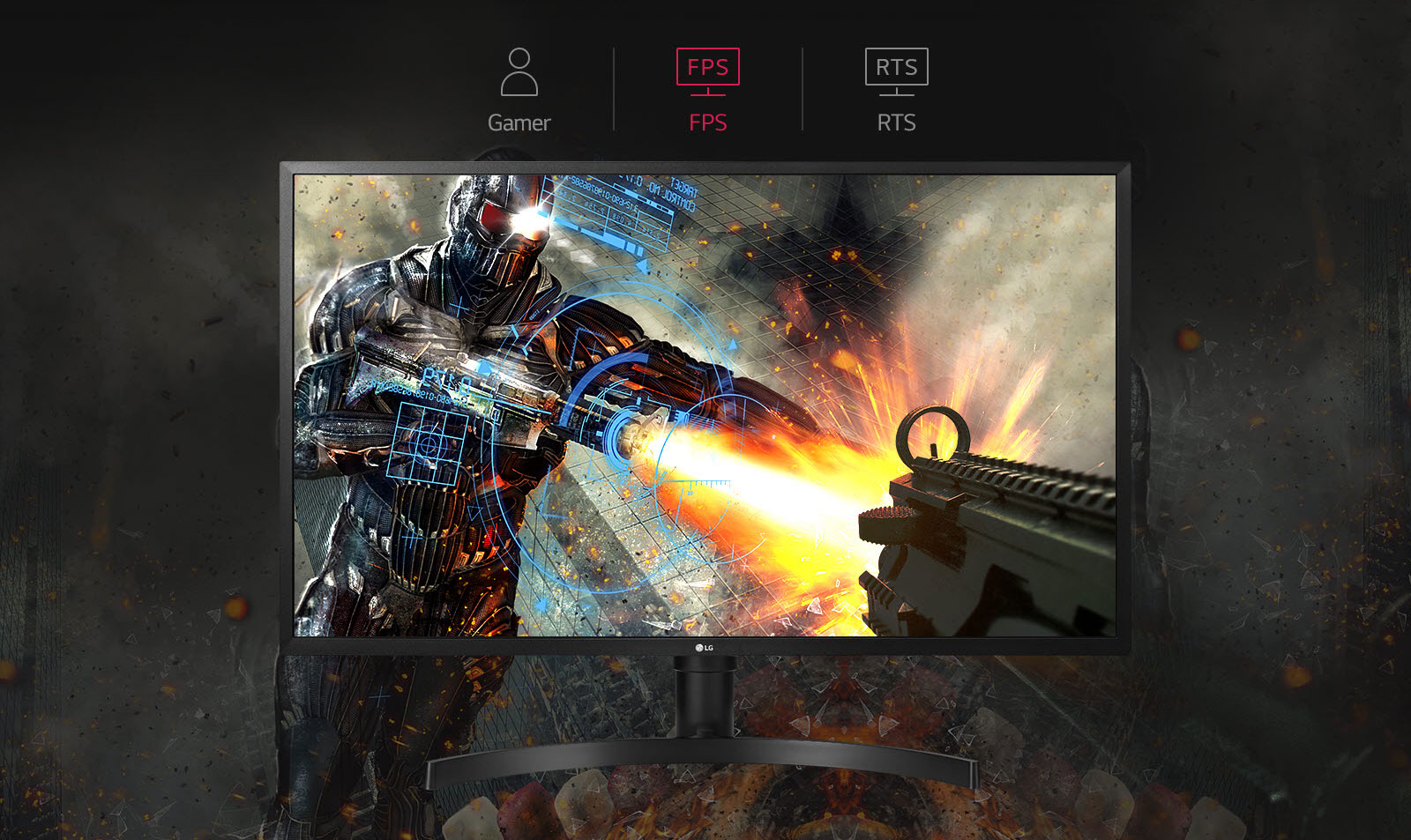 LG 32UK550-B monitor facing forward with an FPS game showing a future soldier standoff