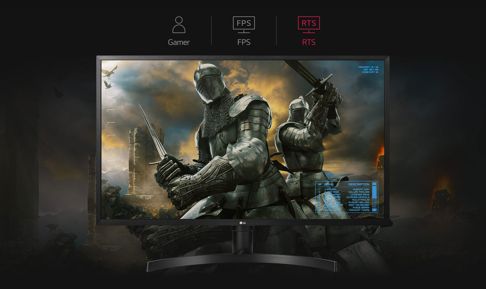 LG 32UK550-B monitor facing forward showing two armor clad knight in the mist of a burning, smokey battle