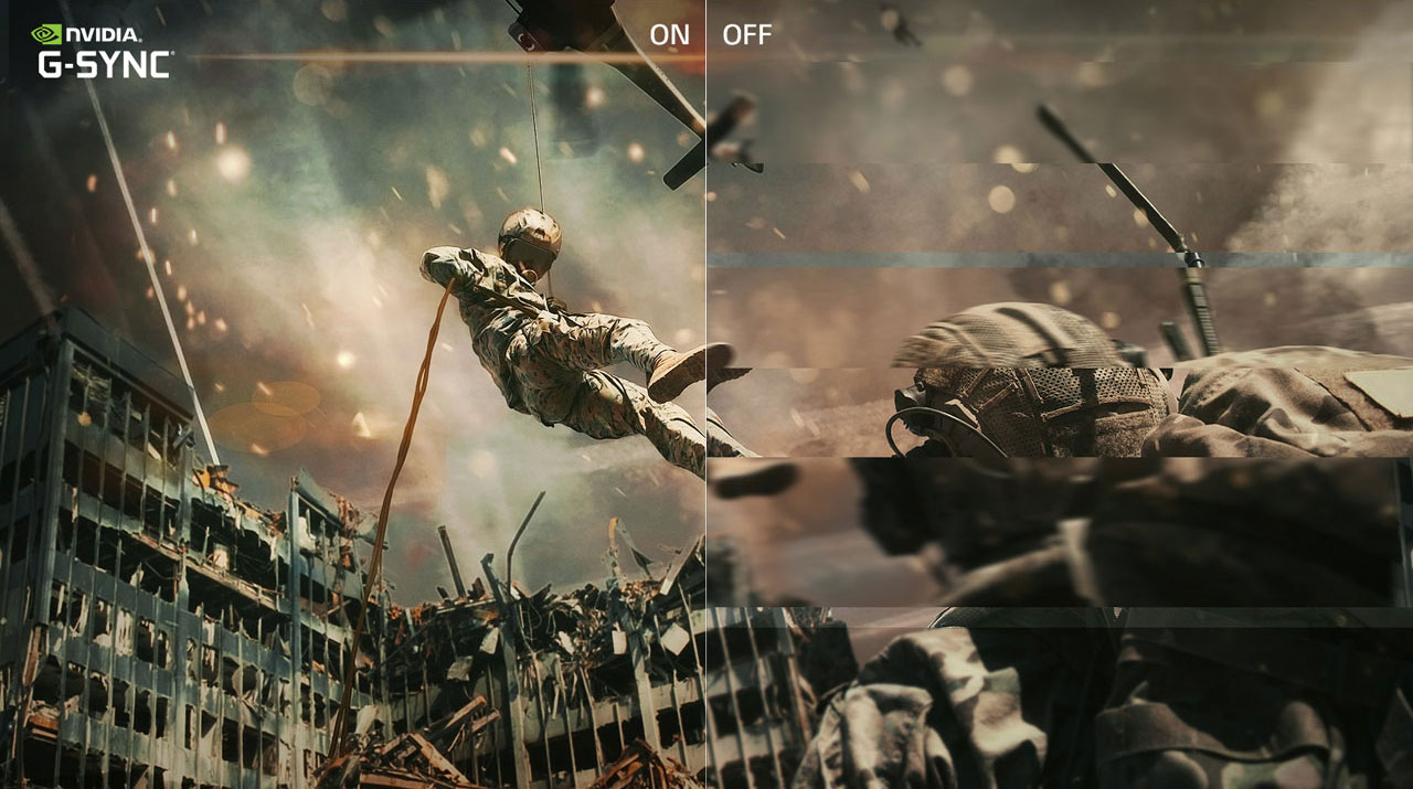 Game scene comparison between G-Sync on and G-Sync off