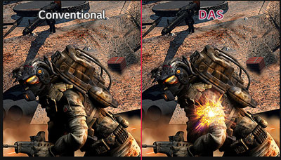 Game scene comparison between conventional and DAS