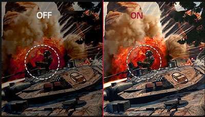 Game scene comparison between Black Stabilizer on and off