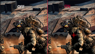 Game scene comparison between Crosshair on and off. When Crosshair on, a red crosshair appears on the screen