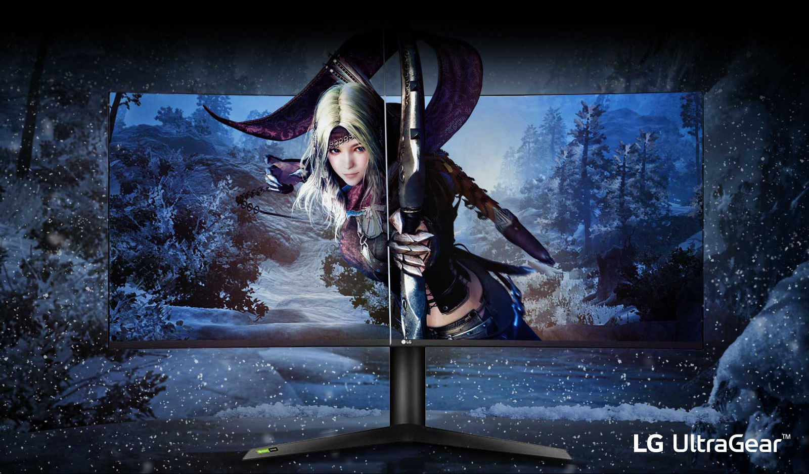 a monitor with an archery beauty as screen in a snow background