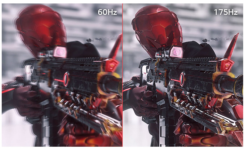 a image splited into two, showing difference effect between 60hz and 175hz