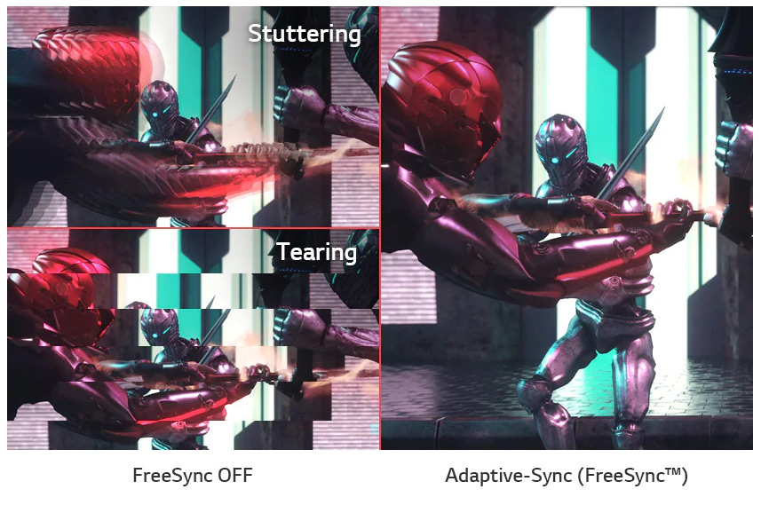 a image splited into two, showing difference effect between freesync off and on