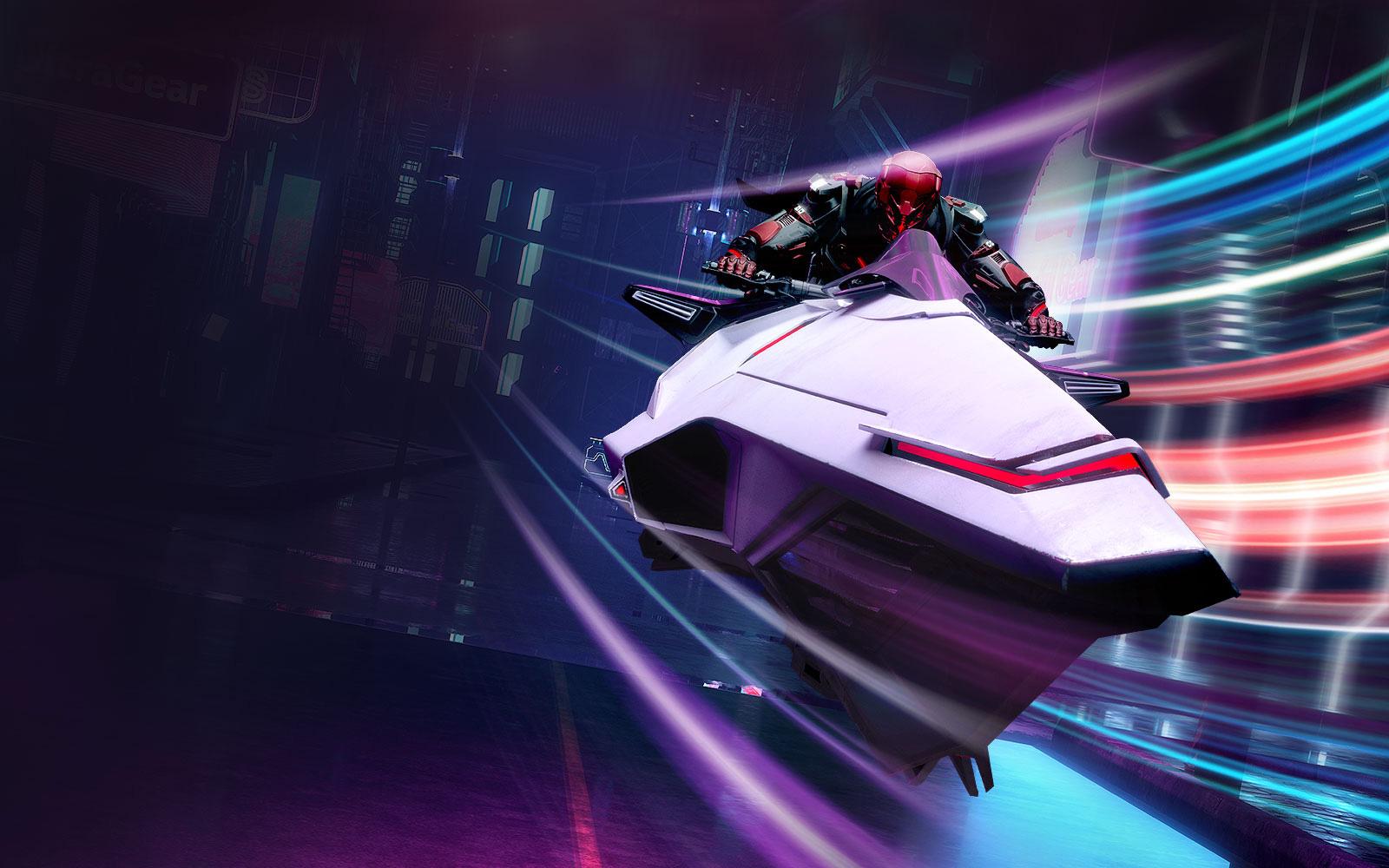 a robot is riding a spaceship