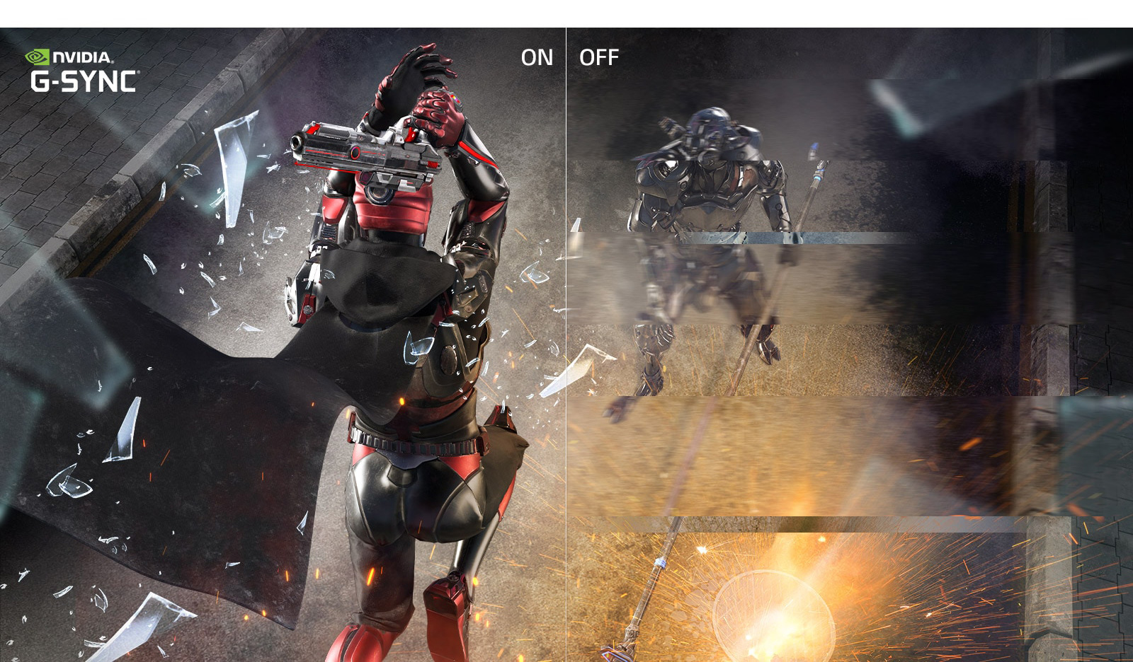 a image splited into two, showing difference effect between g-sync on and off