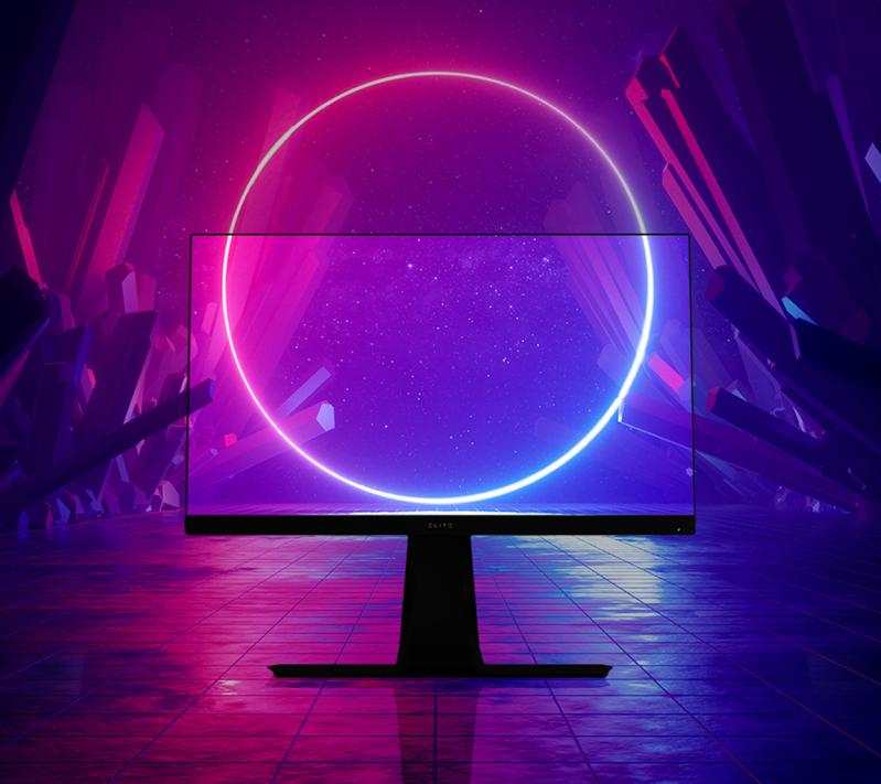 one monitor with a purple image as screen