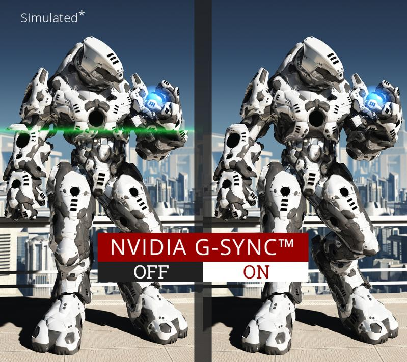 one image splited into two, showing different effect between nvidia g-sync on and off