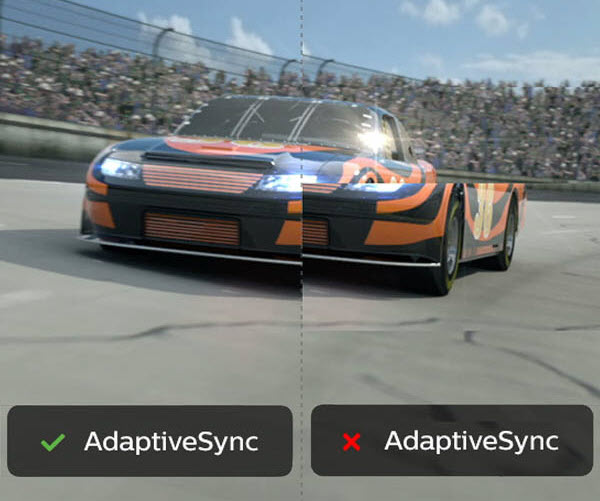 Adaptive-Sync On and Off on an Image of a Racecar Racing to the Left