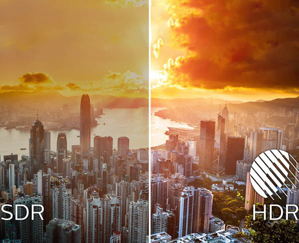 DisplayHDR 400 versus SDR Comparison Image That Shows an Image of Waterside City Scape