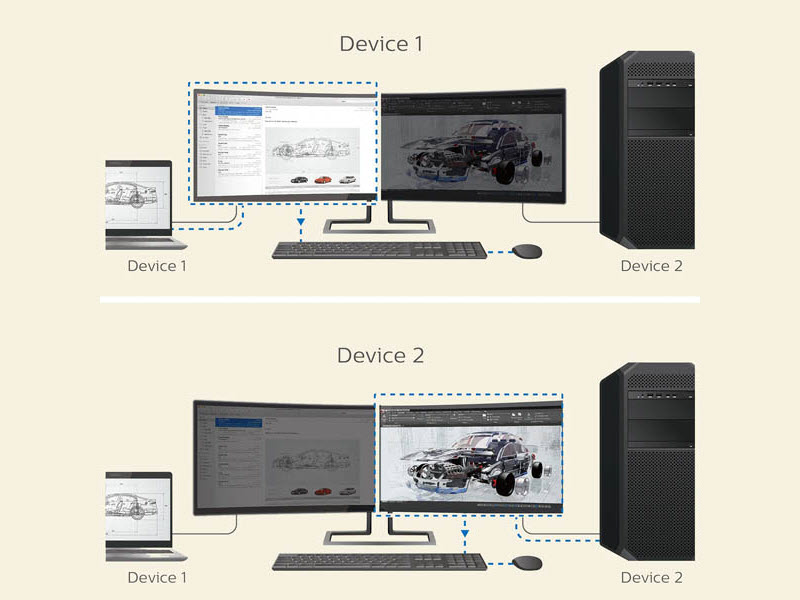 Two instances of a Laptop and desktop computer both being connected to the LG SuperWide Monitor, each device is being used on one half of the screen
