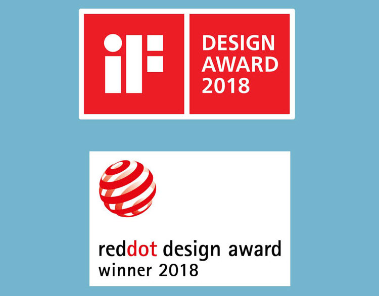 iF Design award 2018 and reddot design award winner 2018 badges