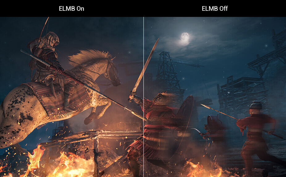 one image splited into two, showing difference effect between elmb on and off