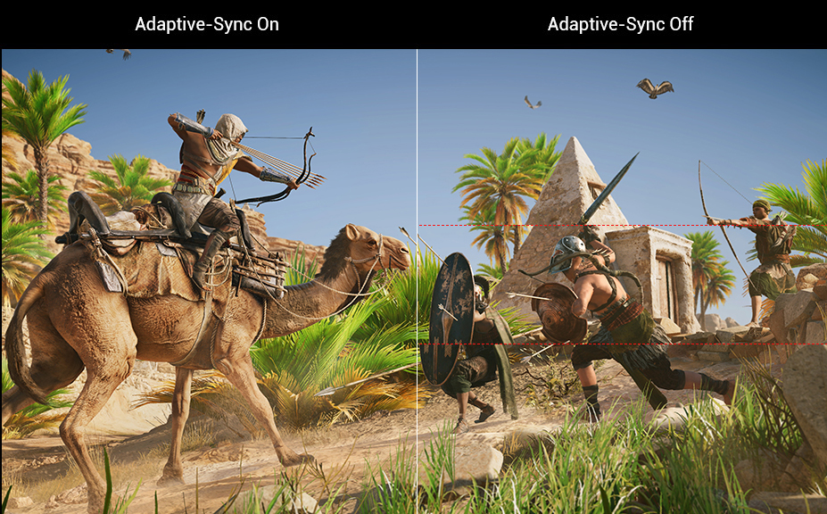 one image splited into two, showing difference effect between adaptive-sync on and off