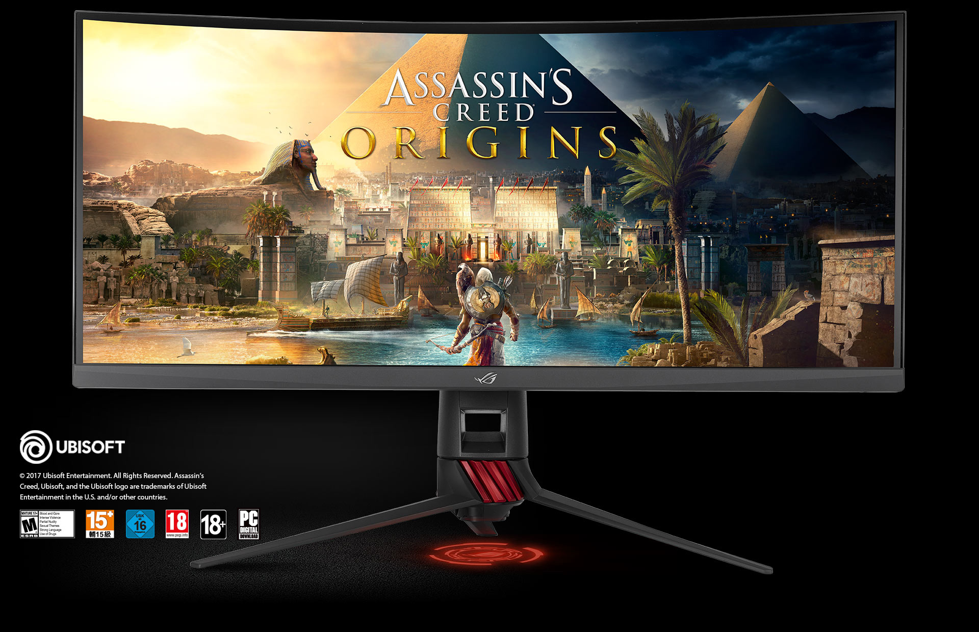 the monitor with a Assassin's creed origins game screenshot