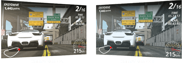 a racing game screenshot in different brightness