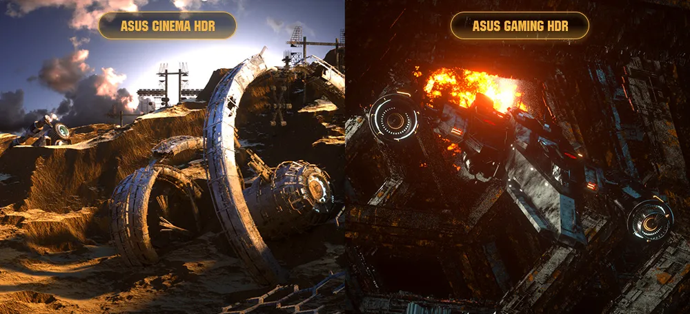 one image splited into two, showing difference effect between Asus cinema HDR and Asus gaming HDR