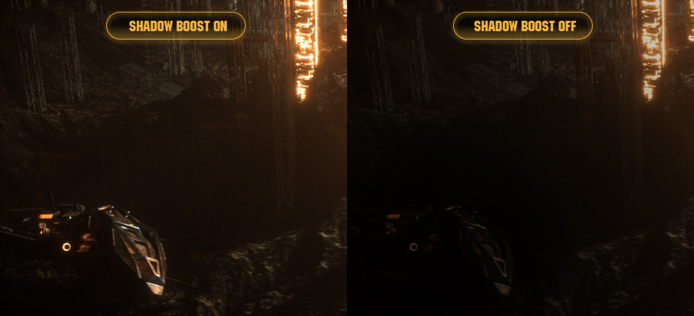 one image splited into two as screen, showing difference effect between shadow boost on and off