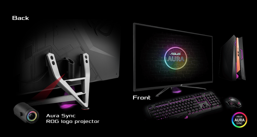 AURA_LIGHTING, the back of the monitor with rog projector, the front of the monitor with keyboard , mouse, and case.