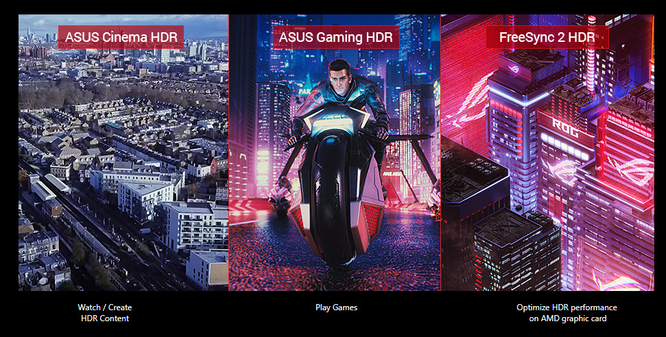 Multi-HDR, three images to show different modes, cinema HDR, gaming HDR, Freesync 2 HDR