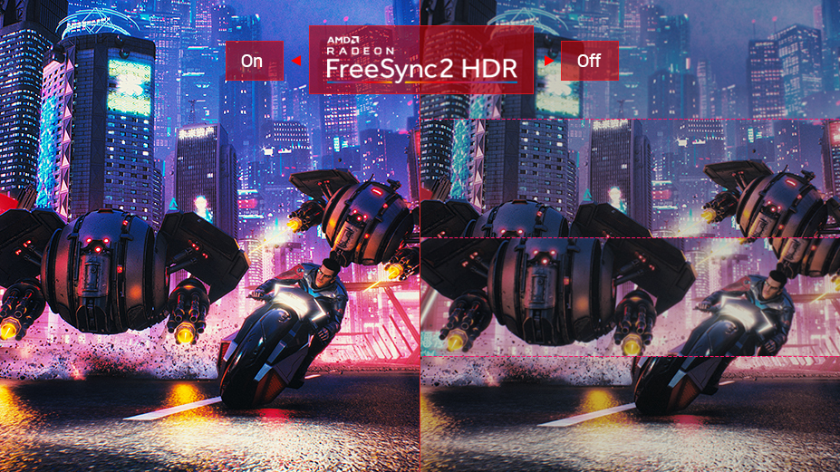 Samless, two images to show the different between FREESYNC2 HDR on and off