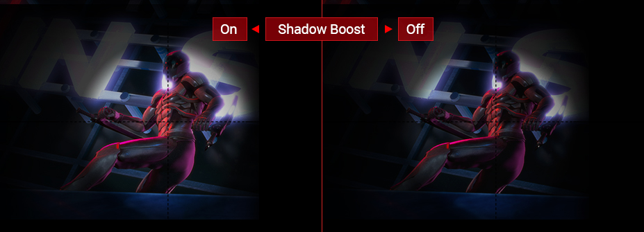 Samless, the detail of shadow boost between on and off